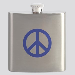 Blue White Peace Sign Flask