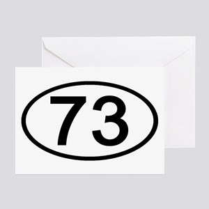 Number 73 Oval Greeting Cards (Pk of 10)