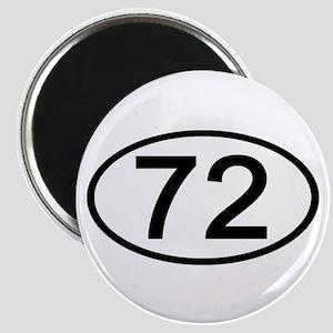 Number 72 Oval Magnet