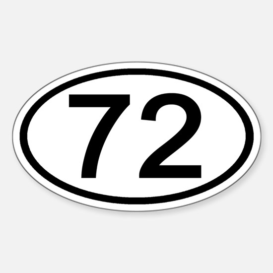 Number 72 Oval Oval Decal