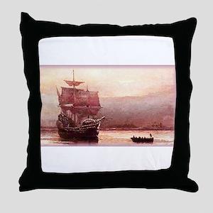 Mayflower in the Hudson Throw Pillow
