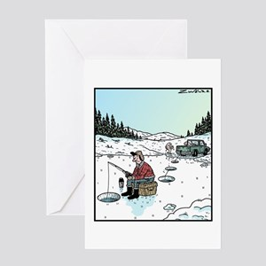 Ice-fishing fish prank Greeting Card