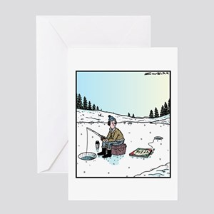 Ice Fishing Pizza Bait Greeting Card