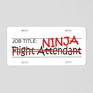 Job Ninja Flight Attendant Aluminum License Plate
