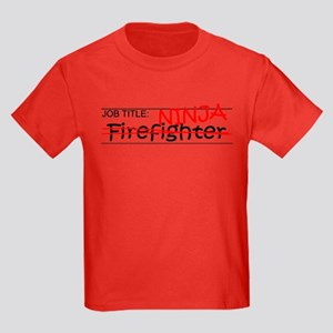 Job Ninja Firefighter Kids Dark T-Shirt