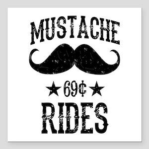 "Mustache Rides Black Square Car Magnet 3"" x 3"""