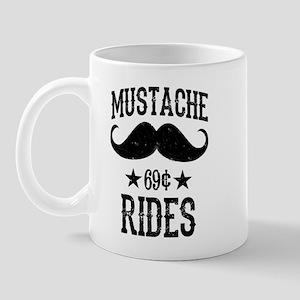 Mustache Rides Black Mug