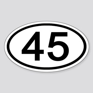 Number 45 Oval Oval Sticker