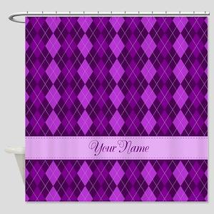 Purple Argyle - Personalized! Shower Curtain