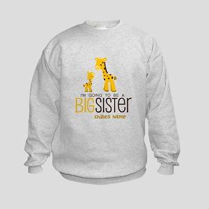 Custom Giraffe Big Sister-to-Be Kids Sweatshirt
