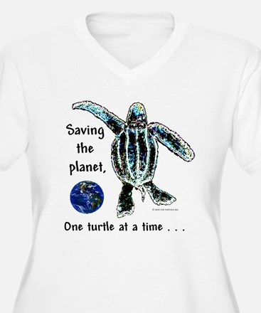 One Turtle at a Time - Plus Size V Neck