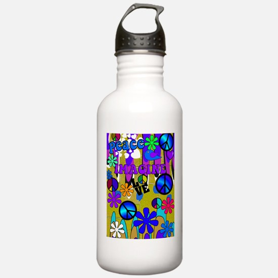 Retro peace art Vertical BLUE Water Bottle