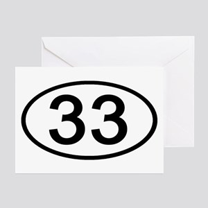 Number 33 Oval Greeting Cards (Pk of 10)