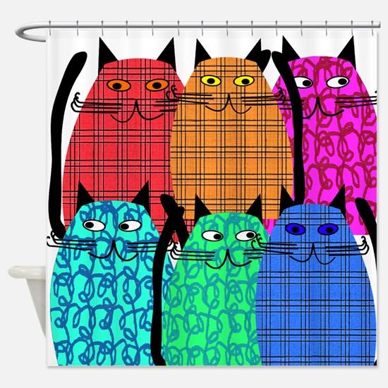 Whimsical Cat Shower Curtain