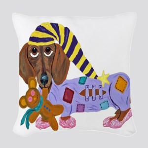 Dachshund Bedtime Woven Throw Pillow