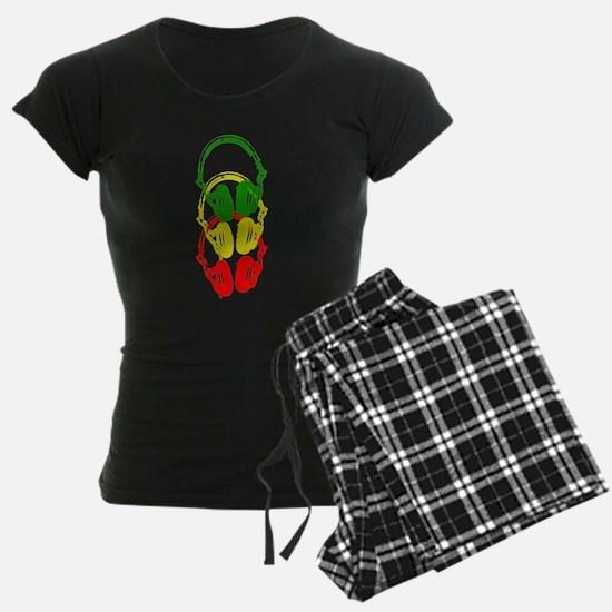 Rastafarian Color Stencil Style Headphones Pajamas