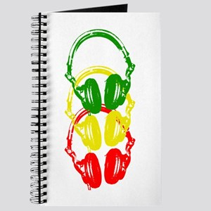 Rastafarian Color Stencil Style Headphones Journal