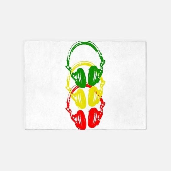 Rastafarian Color Stencil Style Headphones 5'x7'Ar