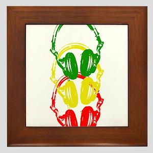 Rastafarian Color Stencil Style Headphones Framed