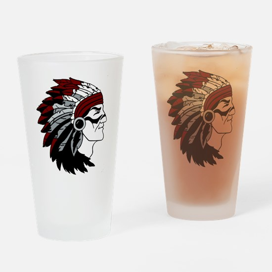 Native American Chief with Red Headdress Drinking