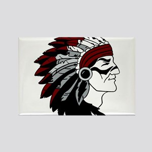 Native American Chief with Red Headdress Rectangle