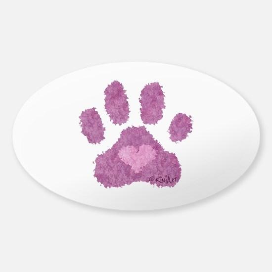 Pink Posh Paw Sticker (Oval)
