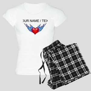Custom Blue Flames Heart Pajamas