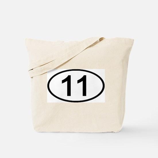 Number 11 Oval Tote Bag
