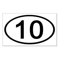 Number 10 Oval Rectangle Decal