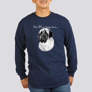 Mastiff Happy Face Long Sleeve Dark T-Shirt