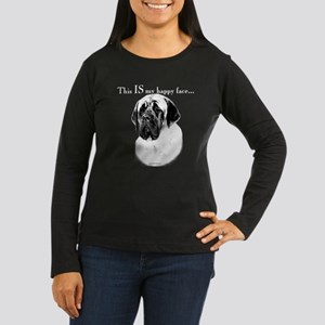 Mastiff Happy Face Women's Long Sleeve Dark T-Shir