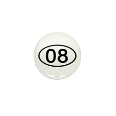 Number 08 Oval Mini Button (100 pack)