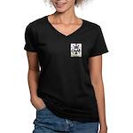 Cholomin Women's V-Neck Dark T-Shirt