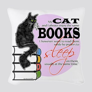 Cats and Books Woven Throw Pillow