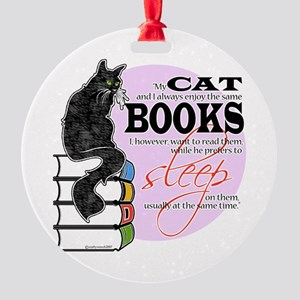 Cats and Books Round Ornament