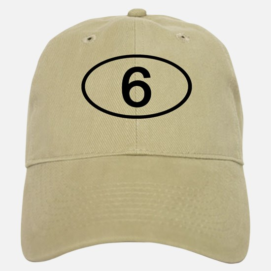 Number 6 Oval Baseball Baseball Cap