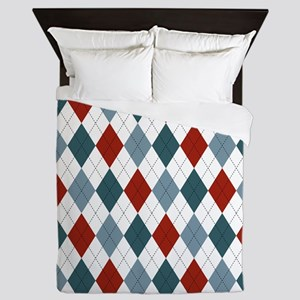 Red Blue and White Argyle Queen Duvet