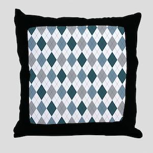 Blue Gray Argyle Throw Pillow