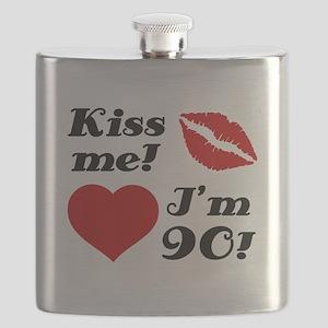 Kiss Me I'm 90 Flask