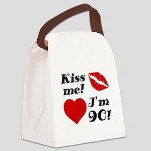 Kiss Me I'm 90 Canvas Lunch Bag