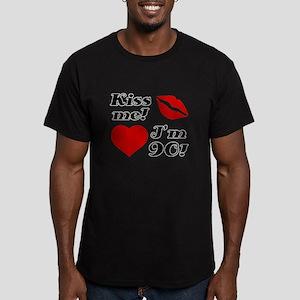 Kiss Me I'm 90 Men's Fitted T-Shirt (dark)