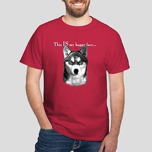 Husky Happy Face Dark T-Shirt