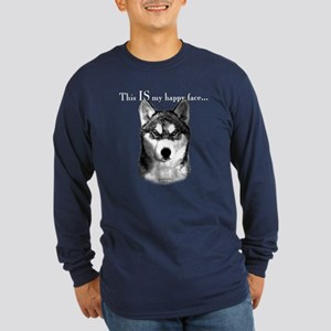 Husky Happy Face Long Sleeve Dark T-Shirt