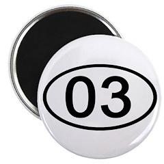 Number 03 Oval Magnet