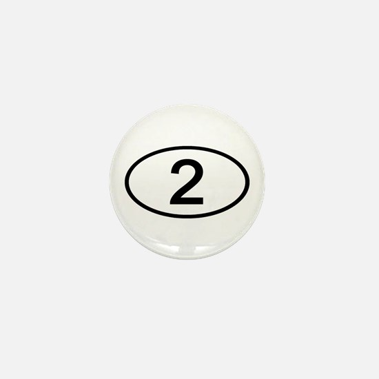 Number 2 Oval Mini Button