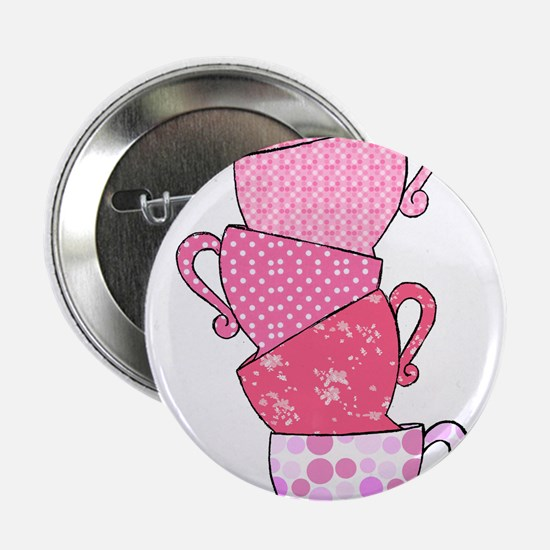 """Pink Pattern Stacked Tea Cups 2.25"""" Button"""