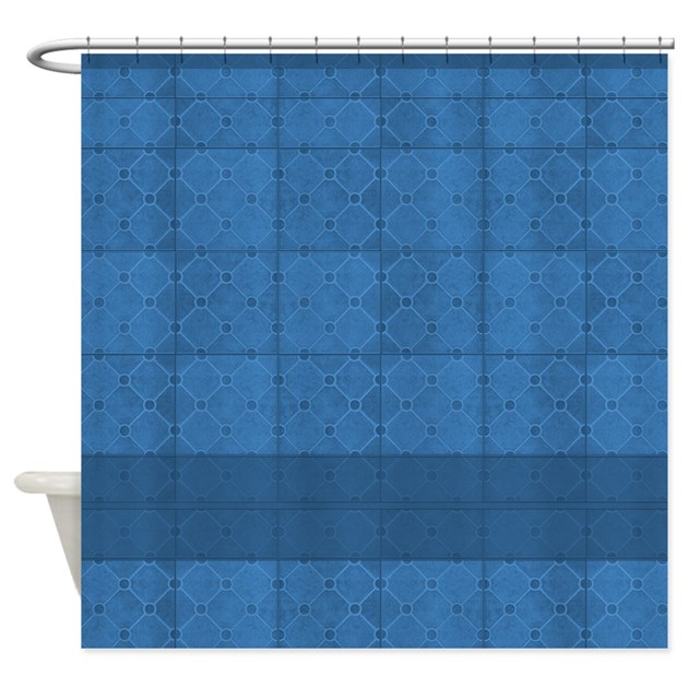 blue mosaic tile bathroom blue mosaic tile pattern shower curtain by 17469