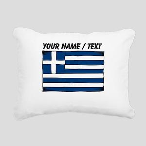 Custom Greece Flag Rectangular Canvas Pillow