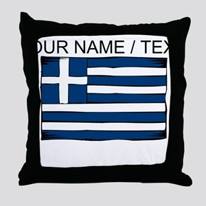 Custom Greece Flag Throw Pillow