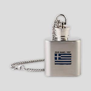 Custom Greece Flag Flask Necklace